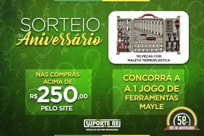 MÊS DE ANIVERSÁRIO - 58 ANOS (SORTEIO III - COMPRAS PELO SITE)